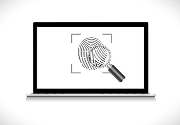 노트북 컴퓨터 디스플레이에 돋보기가있는 지문 신원 아이콘