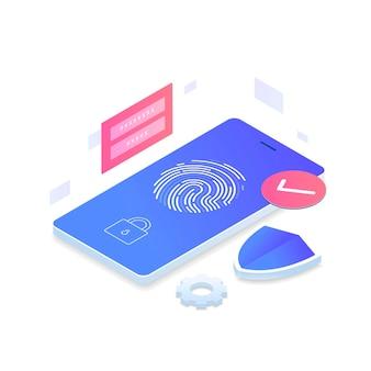 Изометрическая концепция датчика идентификации отпечатков пальцев.