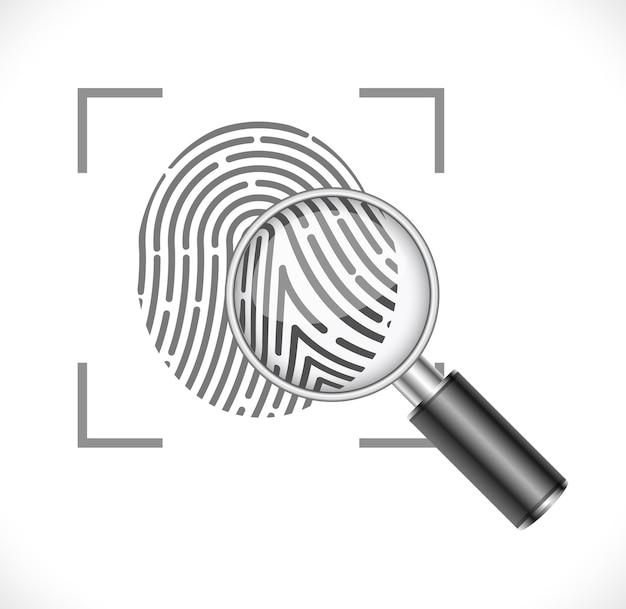 Отпечаток пальца с увеличительным стеклом