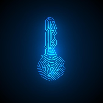 회로 배경이 있는 키 모양의 지문입니다. 사이버 보안 id 개념입니다. 보안 암호화폐 기술. 인증 미래 시스템입니다. 벡터 일러스트 레이 션