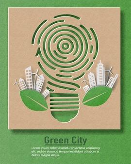 Лампочка отпечатка пальца с городом, спасти планету и концепцию энергии.