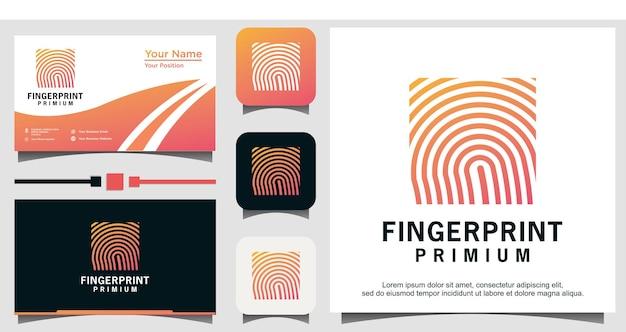 Fingerprint lock secure security logo template