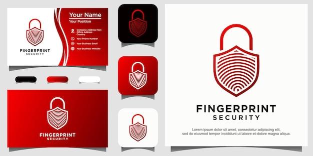 Замок отпечатка пальца безопасный щит безопасности эмблема логотип