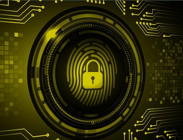 指紋ネットワークサイバーセキュリティの背景。デジタル背景に閉じた南京錠