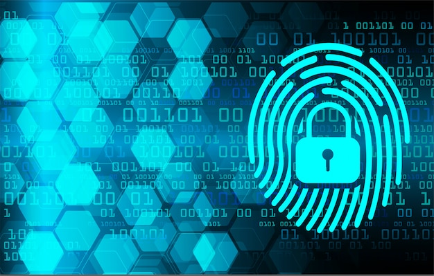 Fingerprint network cyber security background. closed padlock