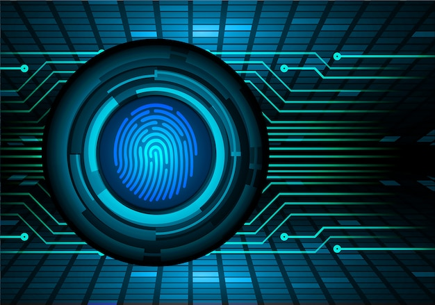 Fingerprint network cyber security background.