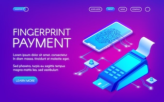 Fingerprint payment illustration of secure payment technology with personal authentication.