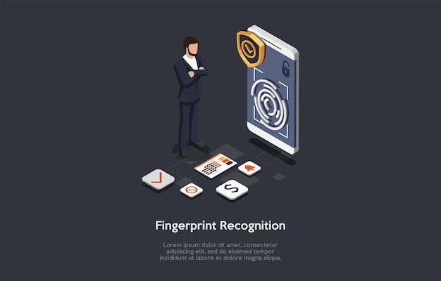 Fingerprint recognition concept illustration on dark background. cartoon style 3d composition. isometric vector design. smartphone access personification technology. character standing, infographics.