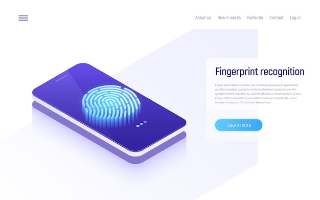 Fingerprint recognition, data protection, secure access, user identification isometric concept.