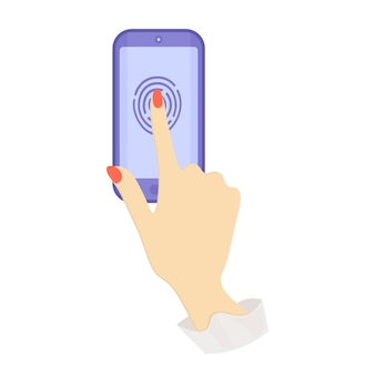 Fingerprint recognition in the phone. blue phone. flat illustration. vector illustration