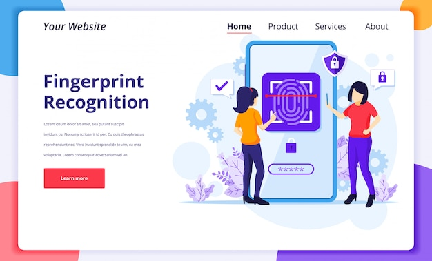 Fingerprint recognition technology concept. women trying to access mobile phone with biometric control. landing page design template