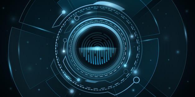 Сканирование отпечатков пальцев и цифровой hud со световыми эффектами. биометрическая проверка. дизайн фона защиты сети. футуристический, научно-фантастический пользовательский интерфейс. компьютерная безопасность. векторная иллюстрация