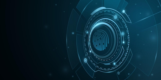Fingerprint scan. biometric verification. network protection background design .digital hud with light effects. futuristic, sci fi user interface. cyber security. vector illustration. eps 10