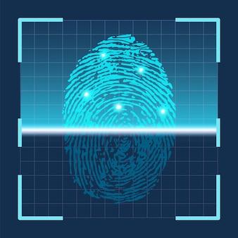 Сканирование отпечатков пальцев. футуристическая технология сканирования отпечатков пальцев. датчик идентификационной системы безопасности. векторный концепт сканера большого пальца руки. цифровая защита, индивидуальный ключ или доступ