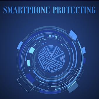Fingerprint scan icon, iot mobile smartphone technology ecosystem app. security touch id system illustration.
