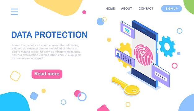 Fingerprint scan to mobile phone. data protection