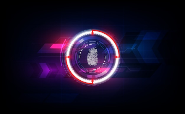 Fingerprint scan with abstract futuristic technology background, security system concept.