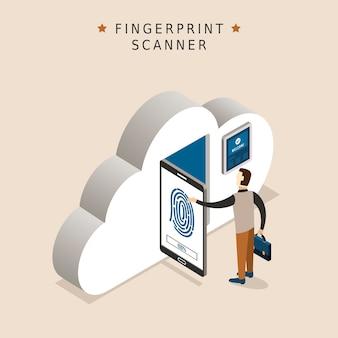 3dアイソメトリックフラットデザインの指紋スキャナーの概念