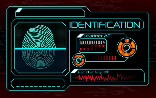 Fingerprint scanner identification system illustration