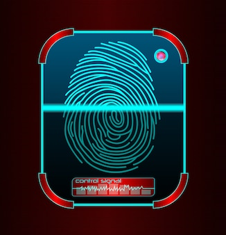 Fingerprint scanning, identification system illustration