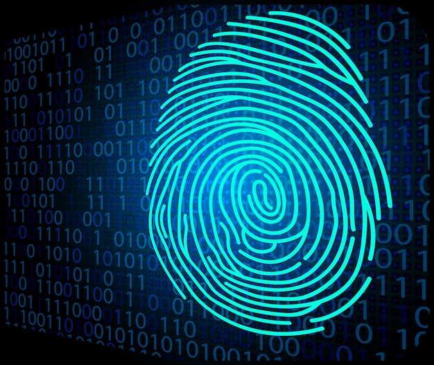 Fingerprint scanning technology background binary code
