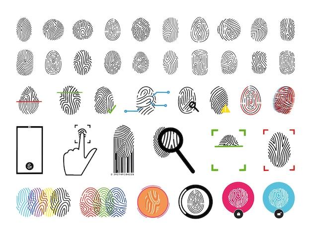 Набор отпечатков пальцев. процесс распознавания отпечатков пальцев. Premium векторы