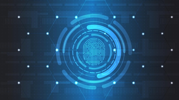 지문 기술 벡터 배경입니다. 디지털 신분증. eps 10