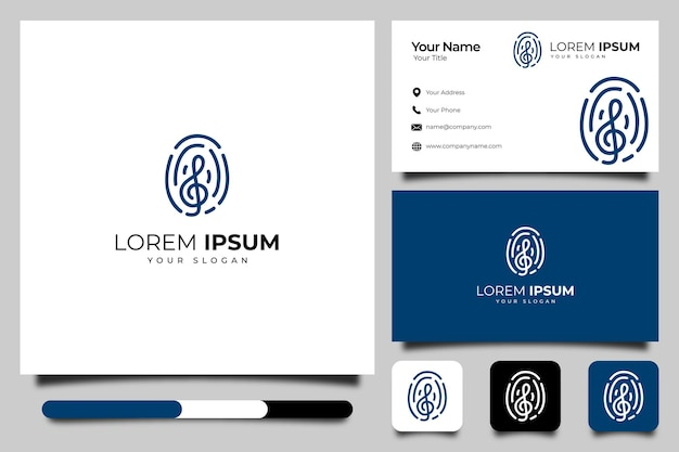 Fingerprint with music logo creative design and business card template