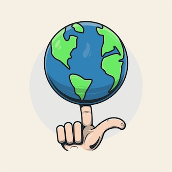Fingers holding the earth illustration