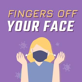 얼굴에서 손가락을 떼면 바이러스 확산 방지 소셜 게시물