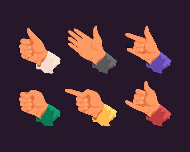 손가락. 다른 제스처를 보여주는 손의 집합입니다. 그림 플랫 스타일.