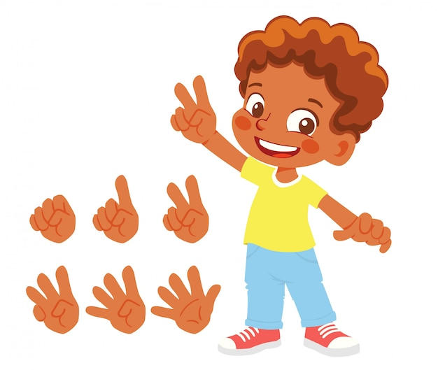 Fingers show numbers. african american boy finger count
