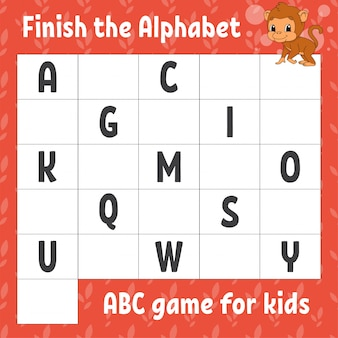 Finish the alphabet. abc game for kids. education developing worksheet. brown monkey.