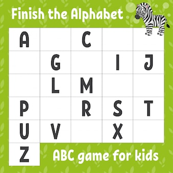 Finish the alphabet. abc game for kids. education developing worksheet. cute zebra.