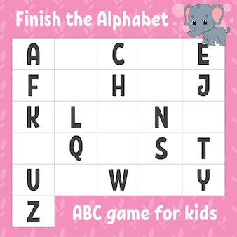 Finish the alphabet. abc game for kids. education developing worksheet.