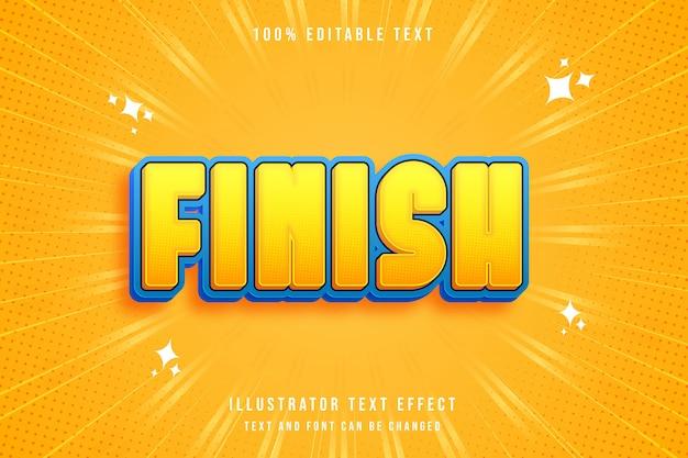 완료, 편집 가능한 텍스트 효과 노란색 그라데이션 주황색 파란색 현대 만화 스타일