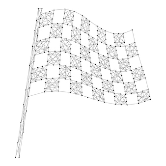 Finish flag automotive checkered from abstract futuristic polygonal black lines and dots.