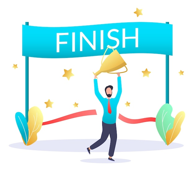 Finish line happy businessman with trophy award cup vector illustration finish business deal concept