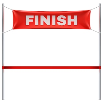 Finish line with red textile banner vector illustration isolated. finish sport race, victory and success finishing