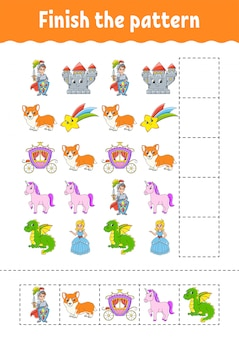 Finish the pattern. cut and play. education developing worksheet. activity page.