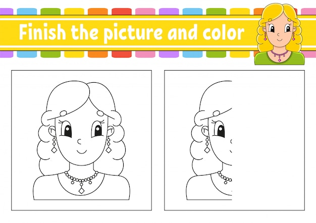 Finish the picture and color. beautiful cute fashionable girl with jewelry.