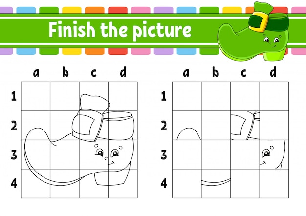 Finish the picture. coloring book pages for kids. education developing worksheet. leprechaun boot.