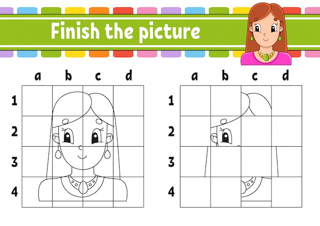 Finish the picture. coloring book pages for kids. education developing worksheet.