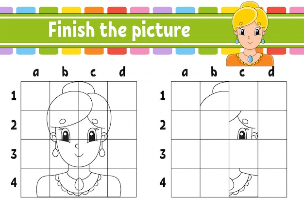 Finish the picture. coloring book pages for kids.
