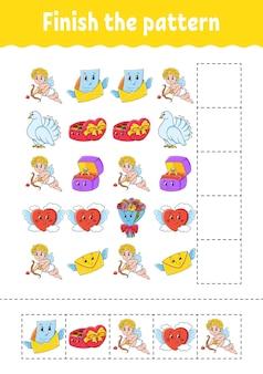 パターンを完成させます。カットアンドプレイ。教育開発ワークシート。活動ページ。バレンタイン・デー。漫画のキャラクター。