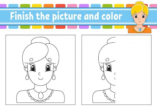 Закончите картину и цвет. красивая милая модная девушка с украшениями. мультипликационный персонаж, изолированные на белом фоне.