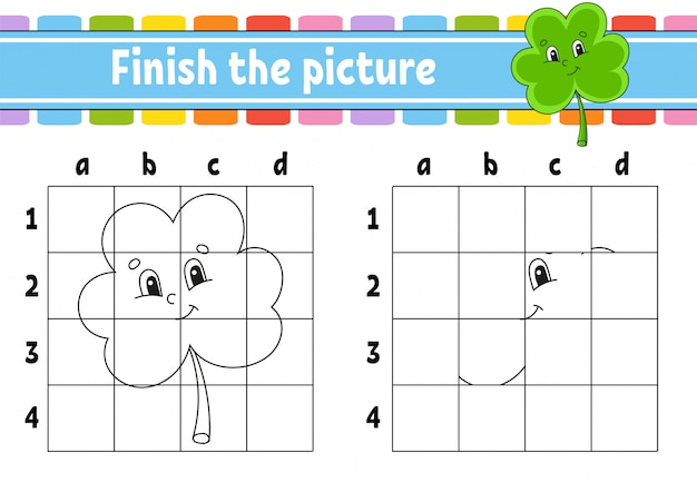 画像を完成させます。クローバーシャムロック。子供向けの塗り絵ページ。教育開発ワークシート。