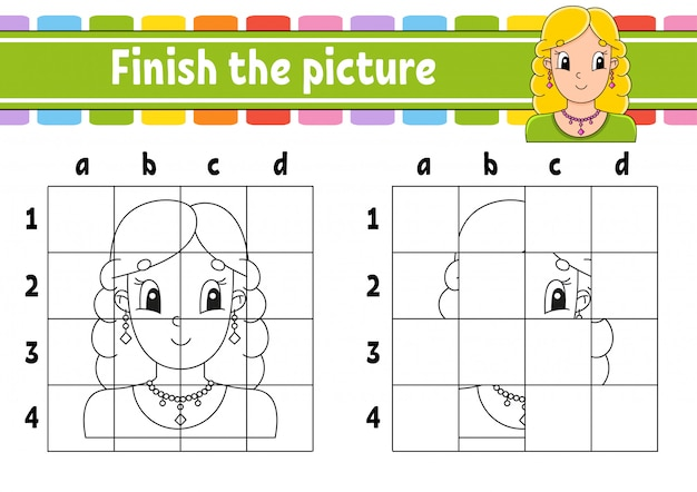 Завершите картину. раскраски для детей. рабочий лист развития образования. игра для детей.