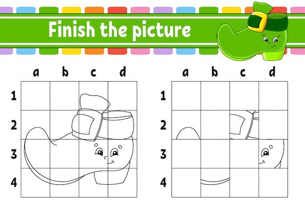 画像を完成させます。子供向けの塗り絵ページ。教育開発ワークシート。レプラコーンブーツ。