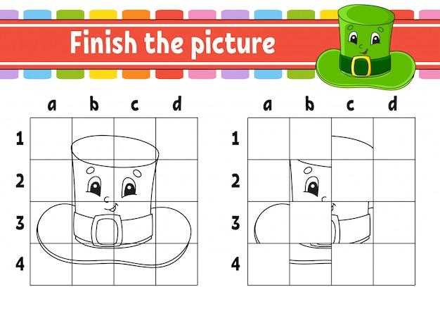画像を完成させます。レプラコーンの帽子。子供向けの塗り絵ページ。教育開発ワークシート。
